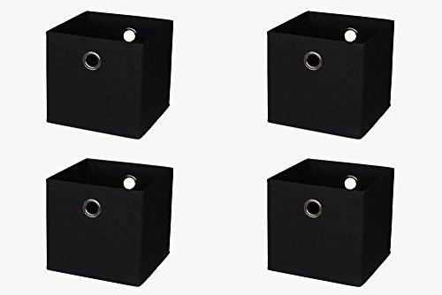 New Swedish Design IKEA Kallax (früher Expedit) Regal Faltbox 32 x 32 x 32 cm/Spielzeugbox Regalkorb Klappbox Regalbox Storage Box Stoffbox/faltbar/Spielzeug Aufbewahrung / 4er-Set/Farbe: SCHWARZ (Box Spielzeug Storage)