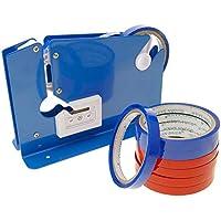 PrimeMatik - Precintadora Cierra Bolsas. Selladora de Bolsas de plástico con 8 Cintas Adhesivas