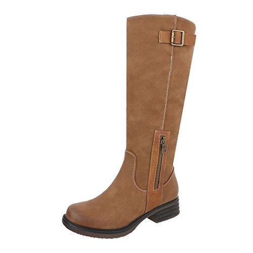 Ital-Design Klassische Stiefel Damen-Schuhe Klassische Stiefel Blockabsatz Blockabsatz Reißverschluss Stiefel Camel, Gr 40, 6529-1- (Flache Stiefel Camel Damen)