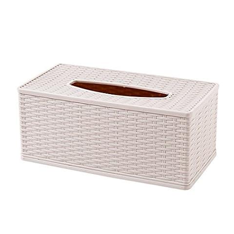 Pingofm le Bamboo côtelé Plastique Paper Box Home Desktop-tray Creative Serviette de table basse de salon Admettre Laser Boîtes de papier de soie
