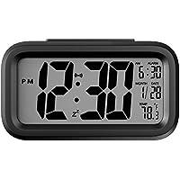 Helect Despertador, Electrónico Grande LCD Pantalla Digital Alarma Despertador Reloj de la mañana Alarma con Iluminar Desde el Fondo y Fecha Temperatura Monitor - Negro