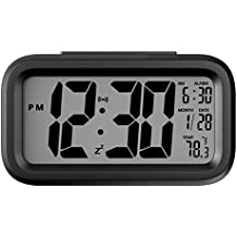 Sveglia Digitale, Helect Elettronico Grande LCD Schermo Digitale Mattina Orologio Clock con controluce, data e Temperatura - Nero