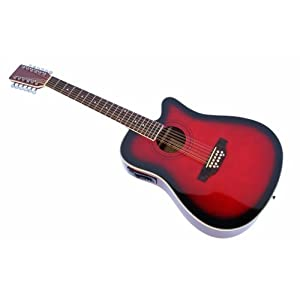 cherrystone 4260180886160–12Corde Western della chitarra con pick-up/EQ redburst