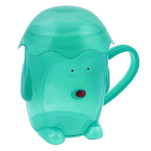 Karikatur-Puppe-Design Kunststoff-Griff Getränk Cup für Kinder Teal Grün