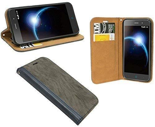 ENERGMiX Buchtasche kompatibel mit ZTE Blade V6 Hülle Case Tasche Wallet BookStyle mit Standfunktion in Anthrazit