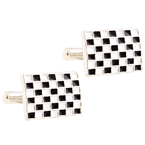 Tripin black and white royal design rectangle cufflinks