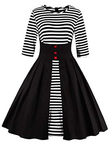 Frauen 1950er Jahre Vintage Elegant Swing Rock 1/2 Ärmel gestreiftes ()