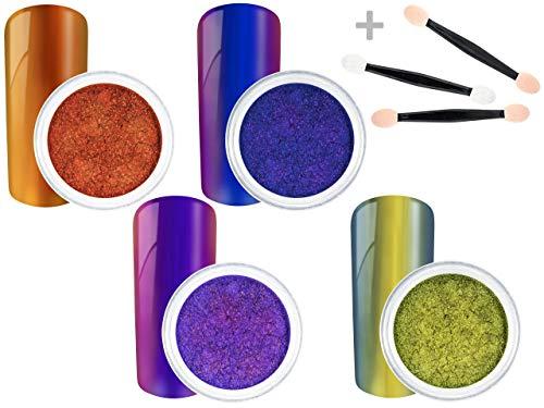 XXL BESTSELLER SPAR SET - Nail Art PIGMENTE - 4 x MIRROR CHROME FLIPFLOP Pigmente Puder + GRATIS Applikator - MIRROR METALLIC - nd24 Nageldesign BESTSELLER