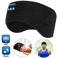 WU-MINGLU Bluetooth Headband Sleep Headphones, Wireless Music Sport Headbands Headsets Sleeping Headphone for Men,Women with Thin and Cool Fabric & Adjustable Earphones for Running, Yoga (BLACK)