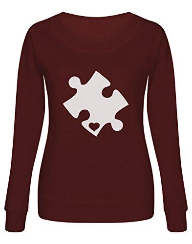 Green Turtle T-Shirts Sudadera Mujer - Autism Awareness Heart Cut Puzzle - Concienciación Sobre el Autismo Medium Burdeos