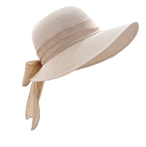 Leisial Damen Sonnenhut Fischerhut Flexible Sommer Hüte Strandhut mit Große Bowtie,Beige (Hut Damen Sonne)