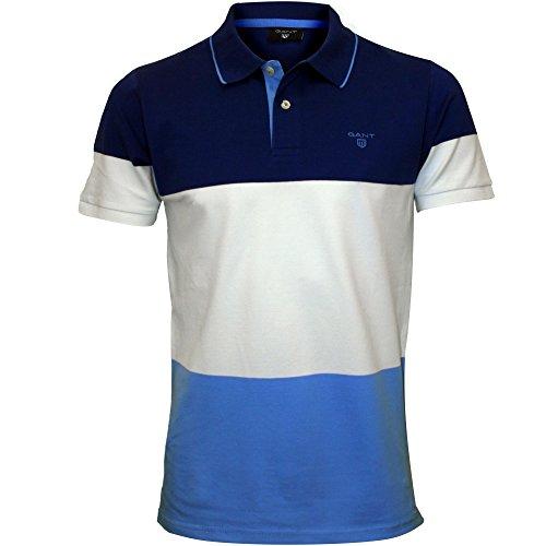 Gant 3-Colour Stripe Pique Rugger Men's Polo Shirt, Yale Blue