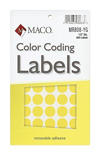 Material Neon Amarillo Redondo de codificación de Color etiquetas, 1/2pulgadas de diámetro, 800por caja (mr808-yg)
