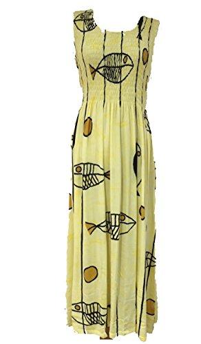 Damen Sommer Strappy Sheering Maxi Fisch gedruckt Kleid Gelb