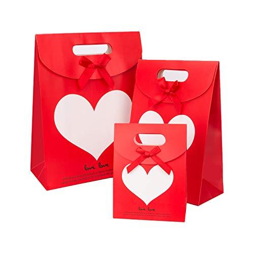 (SAVITA Geschenk Taschen Herz Geschenktüte Niedliche Papiertüten Geschenkbeutel Papier für Valentinstag Weihnachten, Thanksgiving, New Year Goodie Süßigkeiten(rot, 3 sortierte Größe))