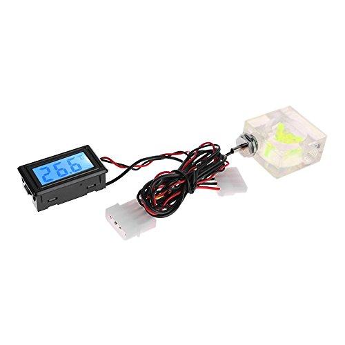 LED Digital Thermometer 3 Way Durchflussmesser für PC Wasserkühlung Liquid System -