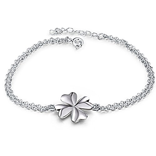 Four Leaf Clover Good Luck Charm Bracelet Simbolo di collegamento 18CM - Four Leaf Clover Regalo
