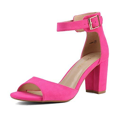 Dream Pairs HHER Zapatos de Tacon con Correa Tobillo para Mujer Fucsia Ante 38 EU/7 US