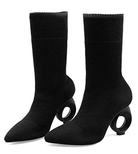 Sneakers Chelsea Bottes Avec Talon Bas / Demi Talon Cheville Bottes De Bottes Modernes En Tissu Noir