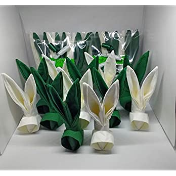 Servietten Osterhasen in grün-weiß ca 15 cm hoch. 12 er Set. zur Ostertisch Dekoration oder als nettes Geschenk, Mitbringsel