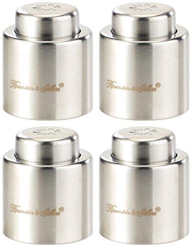 Rosenstein & Söhne Sektflaschenverschluss: Verschluss für Sekt-u. Champagnerflaschen aus gebürstetem Stahl,4erSet (Flaschenverschlüsse)