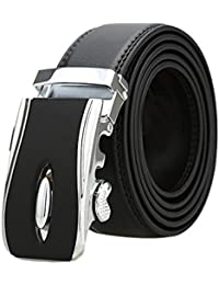 sourcingmap Mens Automatic Ratchet Leather Belt with Double Stitch Edge Wide 1 1/2