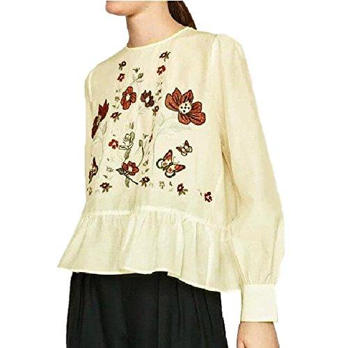 WOCACHI Damen Tops Mode Frauen Translucent Langarm Bluse Blumenstickerei Shirts Blusen Tops (L, Weiß)