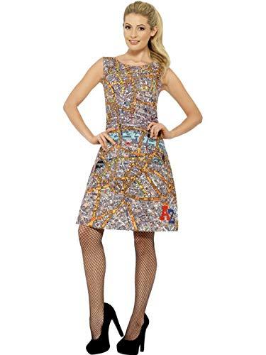 Fancy Ole - Damen Frauen Frauen A-Z Straßenplan Kostüm mit Kleid, perfekt für Karneval, Fasching und Fastnacht, M, ()