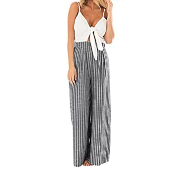 d459cf1a18fb Image Unavailable. Image not available for. Colour: HARRYSTORE Women  Bowknot Sleeveless Striped Print Jumpsuit ...