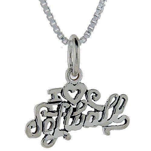 I Love in argento Sterling, con pendente a forma di palla da Softball Talking