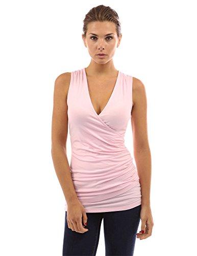 PattyBoutik ärmelloses Damen Bluse mit Rüschen und V-Ausschnitt Light Pink