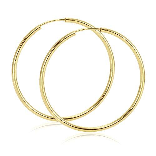 MATERIA Damen Creolen 585 Gold 14K Ohrringe voll flexibel groß 60mm / Made in Germany #SO-372_B4