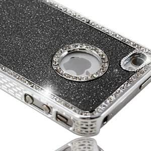New Hard Black Glitter and Diamante / Diamonte Bling Jewel case for iPhone 4 or 4s - With FREE Screen Protector