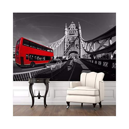Syssyj Fototapete Europäischen Retro-Nostalgischen Schwarz-Weiß-Fotografien Der Architektonischen Kunst 3D Tower Bridge 3D Wandbild Tapete-350X250CM