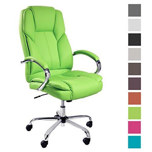 TPFLiving Premium XXL Bürostuhl Chefsessel Schreibtischstuhl DALLAS grün belastbar bis 215 kg hochwertig bequem Kunstleder Fixier- und Wippfunktion stabile Castor Rollen in 10 Farben wählbar