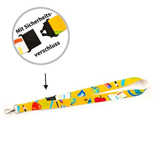 Schlüsselbänder - Lanyards - für Kinder - vorgefertigt - sofort lieferbar im 5er Pack (Schule, 20 mm)