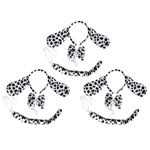 Kostüm Köpfe Hunde Drei - Lurrose 3 sätze halloween kostüm stirnbänder ohr mit schwanz krawatte fleckig hundekopf hoops ohren und schwänze party requisiten für festival ball rave