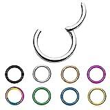 Treuheld® | Segment Clicker Piercing 1,2 x 8 mm - SCHWARZ - 29 Farben&Größen - Helix Septum Tragus Ohr Nase Lippe Segment-Ring - klappbarer Verschluß - Klappverschluß Chirurgenstahl Segmentklicker