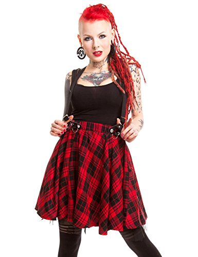 Heartless Lucille Tartan Controllare Pinafore Gonna Rosso Red X-Large
