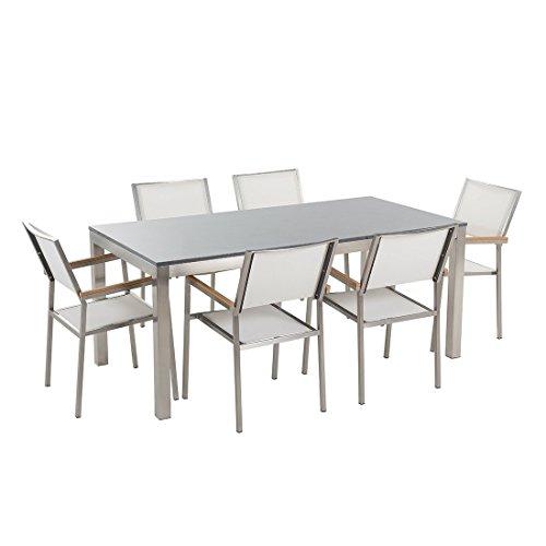 Beliani Grosetto Gartentisch aus Edelstahl, einfache Platte aus Granit, grau, 180 cm, mit 6 Stühlen aus Textil, Weiß