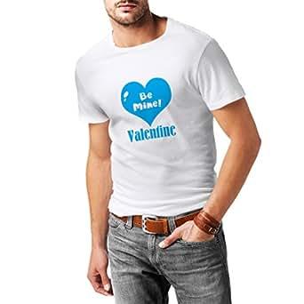 N4151 T-shirt da uomo Be mine Valentine love , great St. Valentine gift (Small Bianco Blu)