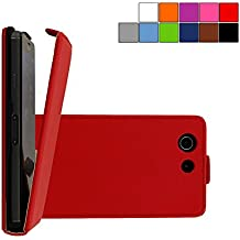 COOVY® COVER CASE CUBIERTA DELGADO FUNDA PROTECTORA CON TAPA PARA SONY XPERIA Z3 COMPACT D5803 D5833 con lámina projoectora de pantalla color rojo