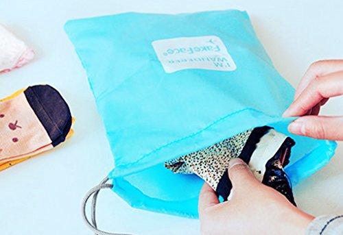 BXT 4 Pcs Aufbewahrungstasche Nylon Drawstring Reisentaschen Geschäftsreise Familie Reisen Wasserdichte Beutel Schuh Beutel Organisator Lagerbeutel Spielraum Speicher von 4 Größe Blau
