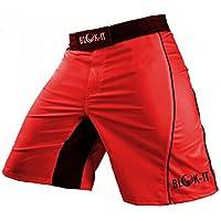 Pantalones Cortos para Peleadorde Blok-IT - Estos Shorts de Boxeo y MMA son Grado Competencia, pero Flexibles y Cómodos para todos el Entrenamiento Diario - Ideales para Todas las Artes Marciales, Surf, y Andar en Patineta(RojoMedio)