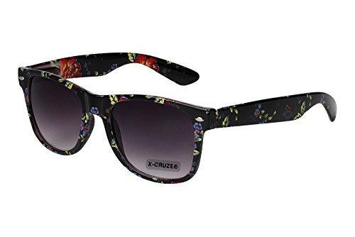 X-CRUZE® 8-048 X0 Nerd Sonnenbrille Retro Vintage Design Style Stil Unisex Herren Damen Männer Frauen Brille Nerdbrille - Blumendesign schwarz