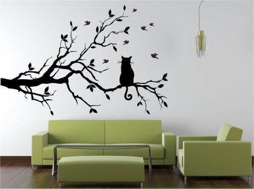 Dalinda® Wandtattoo Katze auf Ast XXL Mega Groß Nr. L202