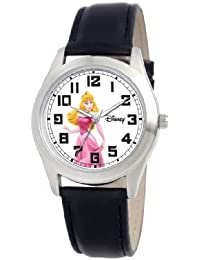 Disney Women's Sleeping Beauty Silver Perth Black Leather Strap Watch #0803C006D156S006