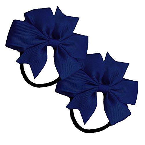 2-x-flat-fan-bow-hair-bobbles-hair-elastic-school-hair-ribbon-bow-navy-blue