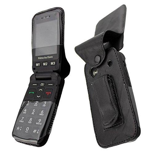 caseroxx Handy-Tasche Ledertasche mit Gürtelclip für Doro Primo 406 aus Echtleder, Handyhülle für Gürtel (mit Sichtfenster aus schmutzabweisender Klarsichtfolie in schwarz)