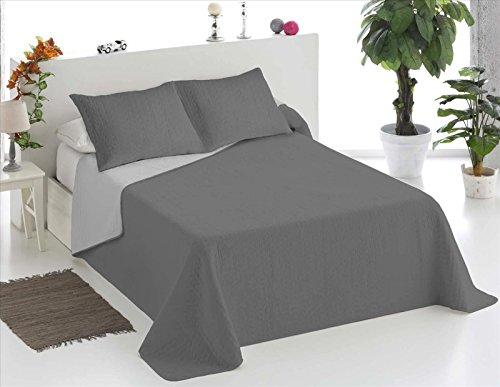 ForenTex - Colcha Boutí, (LQ-GG), Bicolor Gris Gris Claro, cama 135 cm, 230 x 260 cm, +2 fundas cojín 40 x 60 cm, 220 gr/m2 (relleno ligero 80gr/m2)